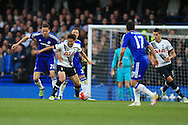 Son Heung-Min of Tottenham Hotspur shields the ball from Nemanja Matic of Chelsea.  Barclays Premier league match, Chelsea v Tottenham Hotspur at Stamford Bridge in London on Monday 2nd May 2016.<br /> pic by Andrew Orchard, Andrew Orchard sports photography.