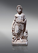 Roman statue of Asklepios. Marble. Perge. 2nd century AD. Inv no . Antalya Archaeology Museum; Turkey.<br /> <br /> Asclepius was a hero and god of medicine in ancient Greek religion and mythology. .<br /> <br /> If you prefer to buy from our ALAMY STOCK LIBRARY page at https://www.alamy.com/portfolio/paul-williams-funkystock/greco-roman-sculptures.html . Type -    Antalya     - into LOWER SEARCH WITHIN GALLERY box - Refine search by adding a subject, place, background colour, museum etc.<br /> <br /> Visit our ROMAN WORLD PHOTO COLLECTIONS for more photos to download or buy as wall art prints https://funkystock.photoshelter.com/gallery-collection/The-Romans-Art-Artefacts-Antiquities-Historic-Sites-Pictures-Images/C0000r2uLJJo9_s0
