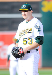 May 5, 2018 - Oakland, CA, U.S. - OAKLAND, CA - MAY 05: Oakland Athletics starting pitcher Trevor Cahill (53) stairs in for the next pitch during the regular season game between the Oakland Athletics and the Baltimore Orioles on May 5, 2018 at Oakland-Alameda County Coliseum in Oakland,CA (Photo by Samuel Stringer/Icon Sportswire) (Credit Image: © Samuel Stringer/Icon SMI via ZUMA Press)
