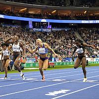 14.02.2020, Mercedes Benz Arena, Berlin, GER, ISTAF-Indoor 2020 Berlin, im Bild <br /> 60m - Finale  (v.l.n.r.)<br /> Marije van Hunenstijn (NED)<br /> Tynia Gaither (BAH)<br /> Lisa Marie Kwayie (GER) - Siegerin<br /> Klara Seidlova (CZE)<br /> Yasmin Kwadwo (GER)<br /> Keshia Beverly Kwadwo (GER)<br /> <br />      <br /> Foto © nordphoto / Engler