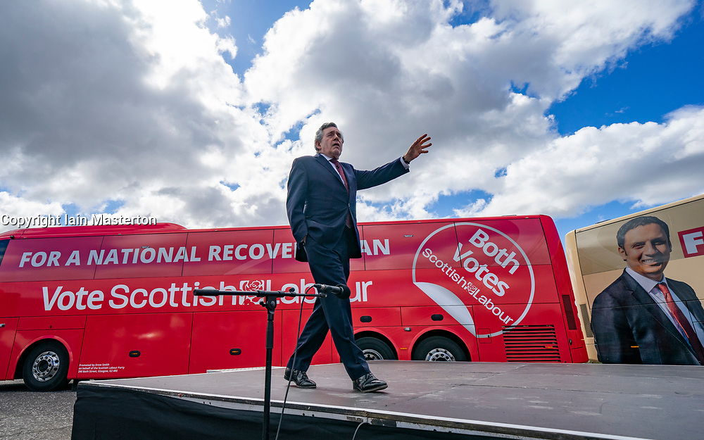 Glasgow, Scotland, UK. 5 May 2021. Scottish Labour Leader Anas Sarwar and former Prime Minister Gordon Brown appear at an eve of polls drive-in campaign rally in Glasgow today. Gordon Brown during his speech.  Iain Masterton/Alamy Live News