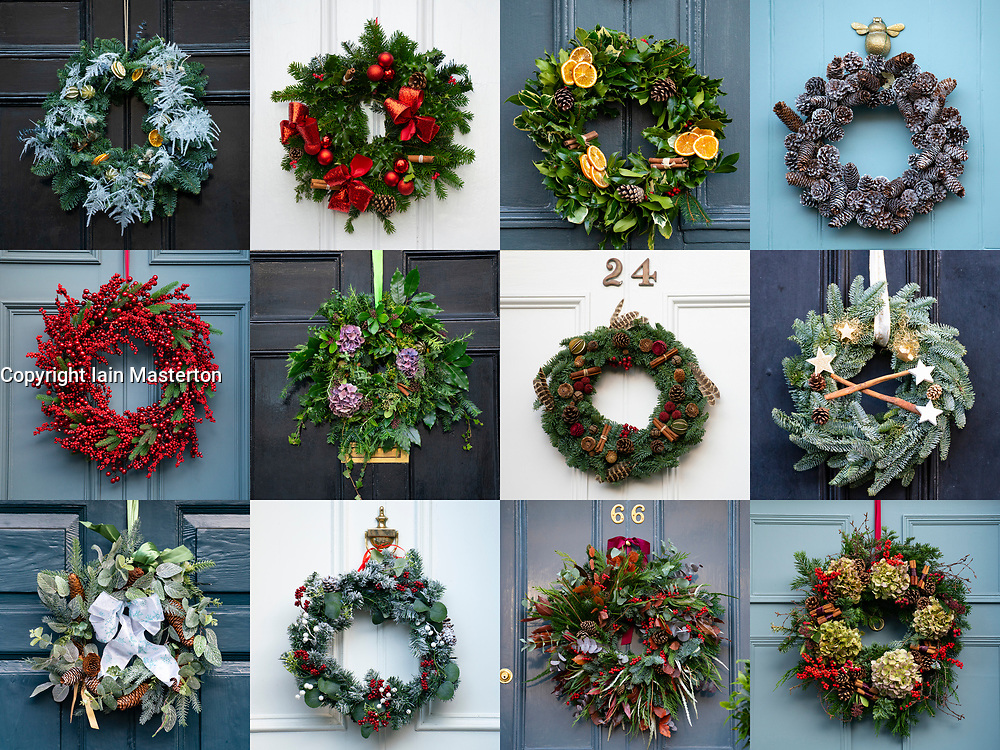 Edinburgh, Scotland, UK. 6 December 2020. A great variety of traditional Christmas wreaths adorning front doors of Georgian townhouses in Edinburgh's New Town.  Iain Masterton/Alamy Live News