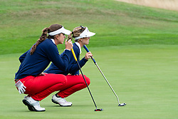 Gleneagles, Scotland, UK; 8 August, 2018.  Day one of golf competition at Gleneagles.. Men's and Women's Team Championships Round Robin Group Stage - 1st Round. Four Ball Match Play format. Gleneagles for the European Championships 2018. Spanish players Silvia Banon (L) and Noemi Jimenez line up their puts in match against GB