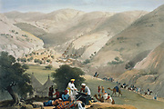 First Anglo-Afghan War 1838-1842: Encampment of lst Bengal European Regiment. Regiment struggling over mountains with the artillery. From J Atkinson 'Sketches in Afghanistan' London 1842. Hand-coloured lithograph.