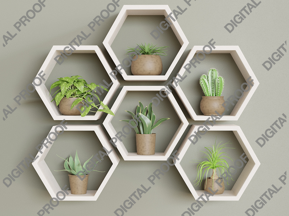 Wooden hexagons with green plants home gardening decoration concept - 3D Rendering Concept