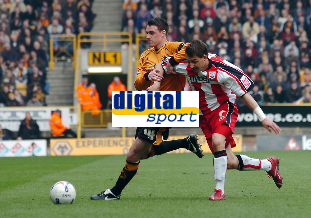 Photo: Kevin Poolman.<br />Wolverhampton Wanderers v Southampton. Coca Cola Championship. 31/03/2007. Darren Potter (R) of Wolves and Rudi Skacel of Southampton fight it out.