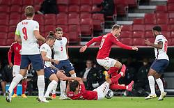 Christian Nørgaard og Christian Eriksen (Danmark) under UEFA Nations League kampen mellem Danmark og England den 8. september 2020 i Parken, København (Foto: Claus Birch).