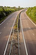 Empty stretch of A12 dual carriageway road near Marlesford, Suffolk, England