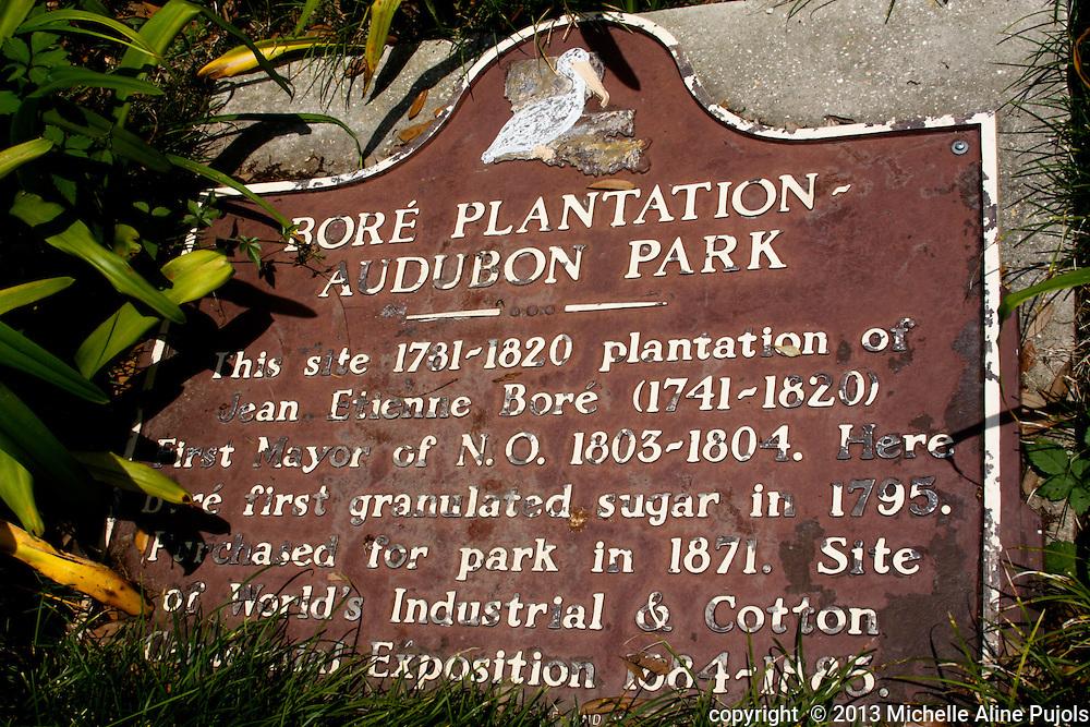 Historic sign at Audubon Zoo. Bore Plantation 1731-1820
