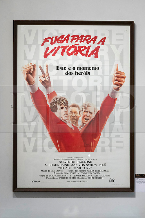 © Licensed to London News Pictures. 01/06/2016. Football poster for the film Escape To Victory. Pele: The Collection with over 1,500 items of memorabilia owned by Pele for sale on later in June. London, UK. Photo credit: Ray Tang/LNP