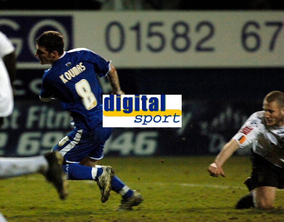 Photo: Daniel Hambury.<br />Luton Town v Cardiff City. Coca Cola Championship. 14/02/2006.<br />Luton's Kevin Nicholls (R) appears to foul Cardiff's Jason Koumas in the last minute.