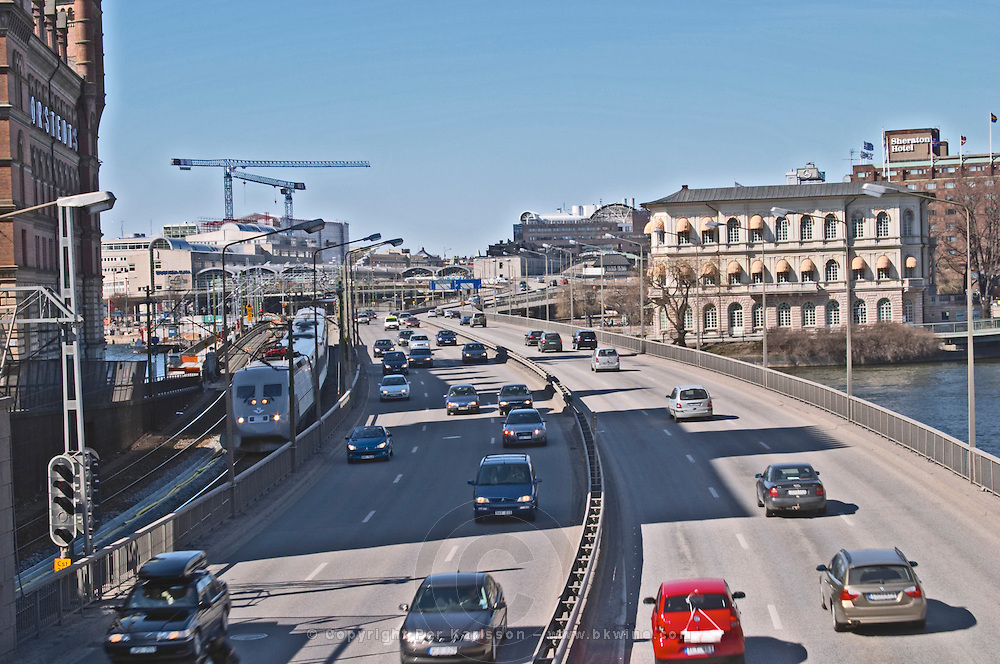 Centralbron, The Central Bridge, the main artery road passing through the centre of the city with cars and railway. Stockholm. Sweden, Europe.