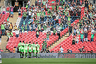 Forest Green Rovers players celebrate in front of their fans having taken the lead in the first ten minutes of the Vanarama National League Play Off Final match between Tranmere Rovers and Forest Green Rovers at Wembley Stadium, London, England on 14 May 2017. Photo by Mark P Doherty.