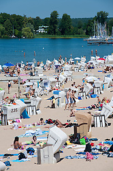 Busy beach at Strandbad in Wannsee in Berlin Germany