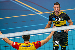 Jeffrey Klok #20 of Dynamo in action in the supercup semifinal between Draisma Dynamo – Active Living Orion on October, 03 2020 in Van der Knaaphal, Ede