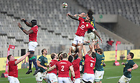 Rugby Union - 2021 British & Irish Lions Tour of South Africa - Second Test: South Africa vs British & Irish Lions<br /> <br /> Courtney Lawes and Franco Mostert compete in the line-out, at Cape Town Stadium, Cape Town.<br /> <br /> COLORSPORT / JOHAN ORTON