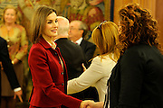 MADRID, SPAIN, 2015, NOVEMBER 23 <br /> <br /> Queen Letizia receives in audience a representation of the foundation Cesar Egido Serrano Museum and the winners in this year's contest microstories Foundation<br /> ©Exclusivepix Media