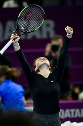 DOHA, Feb. 15, 2019  Simona Halep of Romania celebrates winning the women's singles quarterfinal between Simona Halep of Romania and Julia Goerges of Germany at the 2019 WTA Qatar Open in Doha, Qatar, Feb. 14, 2019. Simona Halep won 2-0. (Credit Image: © Nikku/Xinhua via ZUMA Wire)