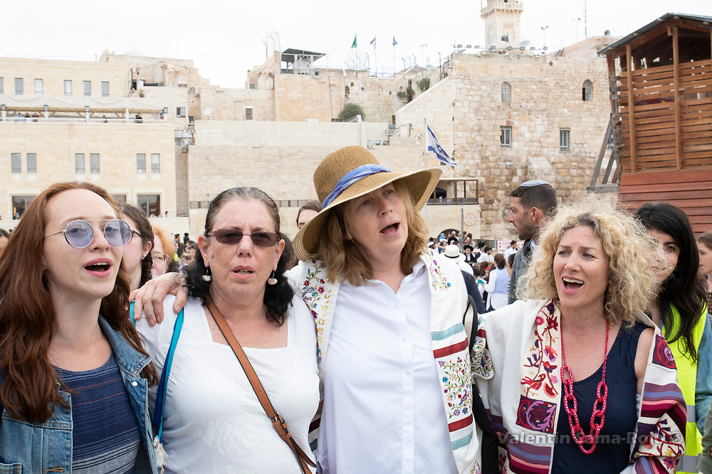 Jerusalem, Israel. 13th July, 2018. Members of the board of Women of the Wall signing while leaving the Western Wall piazza. From left to right, Elizabeth Kirshner, Linda Avita, Anat Hoffman and Riki Shapira-Rosenberg. © Valentin Sama-Rojo