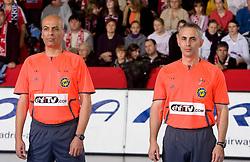 Referees Sholmo Cohen and Yoram Peretz of Israel at handball match of Round 5 of Champions League between RK Krim Mercator and Metz Handball, France, on January 9, 2010 in Kodeljevo, Ljubljana, Slovenia. (Photo by Vid Ponikvar / Sportida)