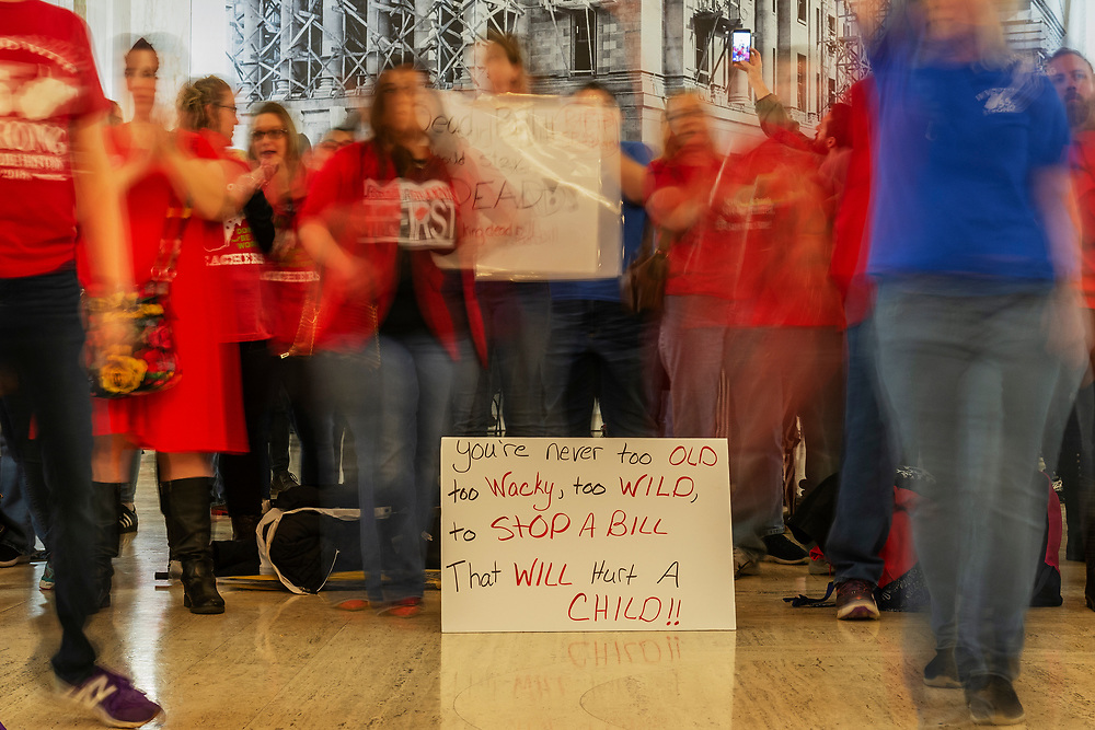 at the West Virginia State Capitol in Charleston, W.Va. on the second day of a statewide strike by teachers and school personnel on Tuesday, February 20, 2019.