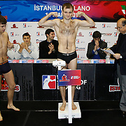 Milano Thunder boxers Vitaliy VOLKOV (C) seen during their Presentation and the weighing ceremony matchday 5 of the World Series of Boxing at Ayhan Sahenk Arena in Istanbul, Turkey, Thursday, March 10, 2011. Photo by TURKPIX