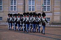 Changing of the Guard, Palace guards, Amalienborg Palace, Copenhagen, Denmark.