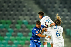 Pieros Sotiriou of Cyprus vs Miha Zajc of Slovenia and Rene Krhin of Slovenia during football match between National Teams of Slovenia and Cyprus in Final Tournament of UEFA Nations League 2019, on October 16, 2018 in SRC Stozice, Ljubljana, Slovenia. Photo by  Morgan Kristan / Sportida