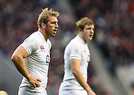 Picture by Andrew Tobin/SLIK images +44 7710 761829. 2nd December 2012. Chris Robshaw of England looks on with Joe Launchbury in the background during the QBE Internationals match between England and the New Zealand All Blacks at Twickenham Stadium, London, England. England won the game 38-21.