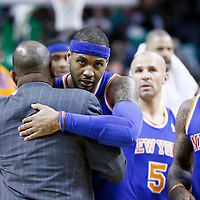 24 January 2013: New York Knicks small forward Carmelo Anthony (7) hugs Boston Celtics head coach Doc Rivers next to New York Knicks shooting guard J.R. Smith (8) during the New York Knicks 89-86 victory over the  at the TD Garden, Boston, Massachusetts, USA.