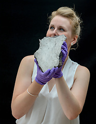 Pictured: Curator of the exhibition Kirsty MacNab with a rare piece of the Gibeon meteorite, which fell to Earth in prehistoric times, showing its unique patterned cross section.<br /> <br /> An exhibition at the University of Edinburgh main library entitle 'Astronomy Victorious: understanding our Universe' runs from 27 July till 27 October 2018.<br /> <br /> © Dave Johnston / EEm