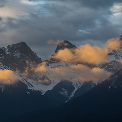 Sunrise over Three Sisters in Canmore, Alberta