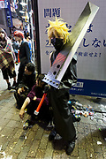 A Japanese man dressed as Cloud a character from the Final Fantasy video game  during the Halloween celebrations Shibuya, Tokyo, Japan. Saturday October 27th 2018. The celebrations marking this event have grown in popularity in Japan recently. Enjoyed mostly by young adults who like to dress up, drink , dance and misbehave in parts of Tokyo like Shibuya and Roppongi. There has been a push back from Japanese society and the police to try to limit the bad behaviour.