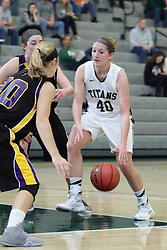 12 December 2015:  Ashley Schneider during an NCAA women's basketball game between the Wisconsin Stevens Point Pointers and the Illinois Wesleyan Titans in Shirk Center, Bloomington IL