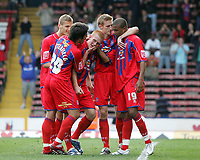 Photo: Lee Earle.<br /> Crystal Palace v Sheffield United. Coca Cola Championship. 22/09/2007. Ben Watson (C) is congratulated after scoring the winning goal for Palace from the penalty spot.