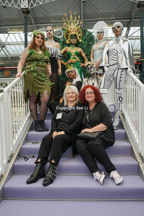 Olympia London, London, England, UK. Body paints and at the front is Nicci Jackson is the Head Judge (L) & Julia Townend body painting Judge (R) of Comic Strip Couture Fashion Makeup Competition, at The Olympia Beauty show at Kensington Olympia in London on 1st October 2017.