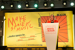 © Licensed to London News Pictures; 30/09/2021; Bristol, UK. LOUISE MITCHELL Chief Executive of Bristol Beacon concert hall reveals a new logo, look and vision for the concert hall to help everyone in Bristol 'make space for music'. The entertainment and music venue was formerly called the Colston Hall and the main concert hall is is currently undergoing a major refurbishment. After revealing its new name one year ago, Bristol Beacon commissioned three local young emerging artists – Rosa ter Kulie, Jasmine Thompson and Greg Keen – from Bristol's Rising Arts Agency to work alongside leading agency Saboteur to develop an identity that they felt reflected the name and the city of Bristol and the new brand showcases the breadth of work that Bristol Beacon delivers beyond its role as a major music venue. The Trust said four years ago that they would change the name due to the long standing controversy of the name being associated with the 17th century slave trader Edward Colston, though the hall, situated on Colston Street, was not itself connected with Colston's legacies to the city of Bristol. Last year the statue of Edward Colston was toppled and thrown into Bristol harbour during a Black Lives Matter protest. Photo credit: Simon Chapman/LNP.