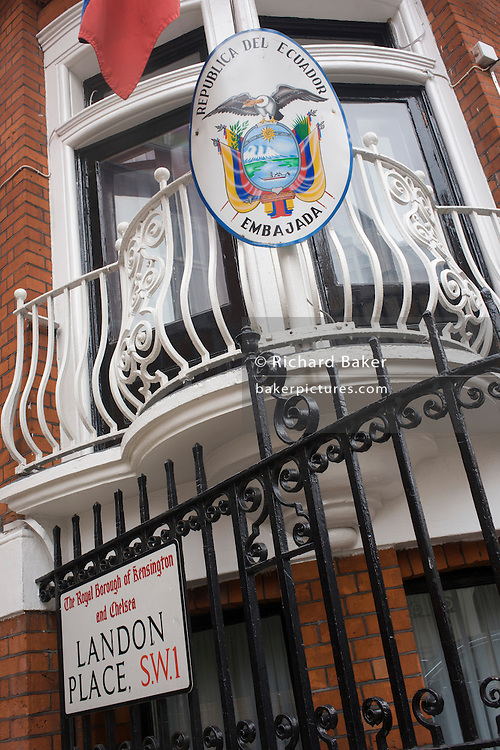 The national flag hangs outside the Ecuadorian embassy in Hans Crescent, London SW1.