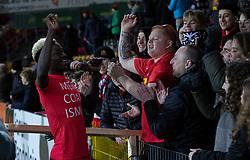 Mohammed Diomande (FC Nordsjælland) danser sejrsdans med tilskuerne efter 6-0 sejren i kampen i 3F Superligaen mellem FC Nordsjælland og AC Horsens den 19. februar 2020 i Right to Dream Park, Farum (Foto: Claus Birch).