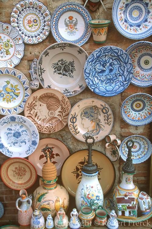 SPAIN, CASTILE-LA MANCHA, TOLEDO craft shop displaying traditional ceramics of the area