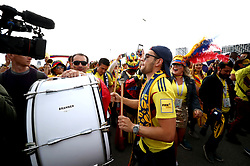 A Colombia fan plays drums during the FIFA World Cup 2018, round of 16 match at the Spartak Stadium, Moscow.