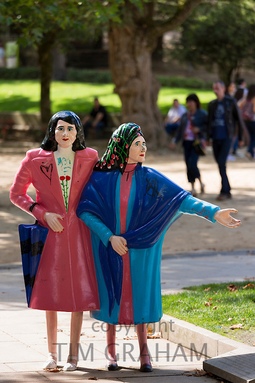 Statue of two sisters, As Duas Marias, by Cesar Lombera modern art in Alamada Park in Santiago de Compostela, Spain