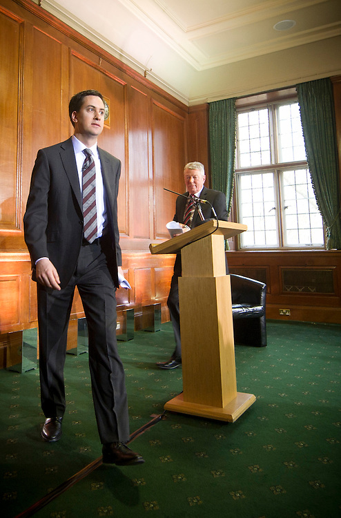 Ed Miliband MP, Leader of the Labour Party, holds a press conference, alongside Alan Johnson, on Monday 10 January, in London. BOGDAN MARAN  / BIG PICTURES
