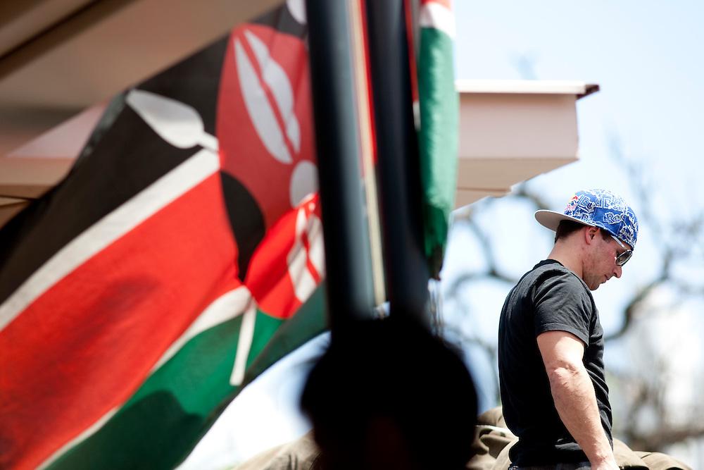 Location: Mont Kenya (Kenya) Urge Kenya 09/ The ultimate Mountain Bike gravity adventure at Mont-Kenya Athlete: Darren Berrecloth wait on the top of the bus  at Nairobi.