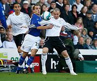 Photo: Steve Bond.<br />Derby County v Everton. The FA Barclays Premiership. 28/10/2007. Kenny Miller (R) tussles with Leon Osman (R)