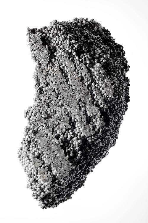 piece of styrofoam in the form of a strange stone object