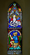 Stained glass window Bedingfield church, Suffolk, England, UK Good Centurion with angel above c 1872 poss William Miller