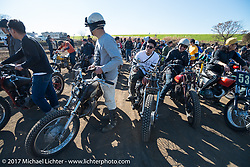 Racers at Brat Style's flat track racing at West Point Offroad Village. Kawagoe, Saitama. Japan. Wednesday December 6, 2017. Photography ©2017 Michael Lichter.