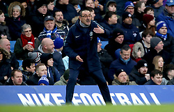 Chelsea manager Maurizio Sarri gestures on the touchline during the Premier League match at Stamford Bridge, London.