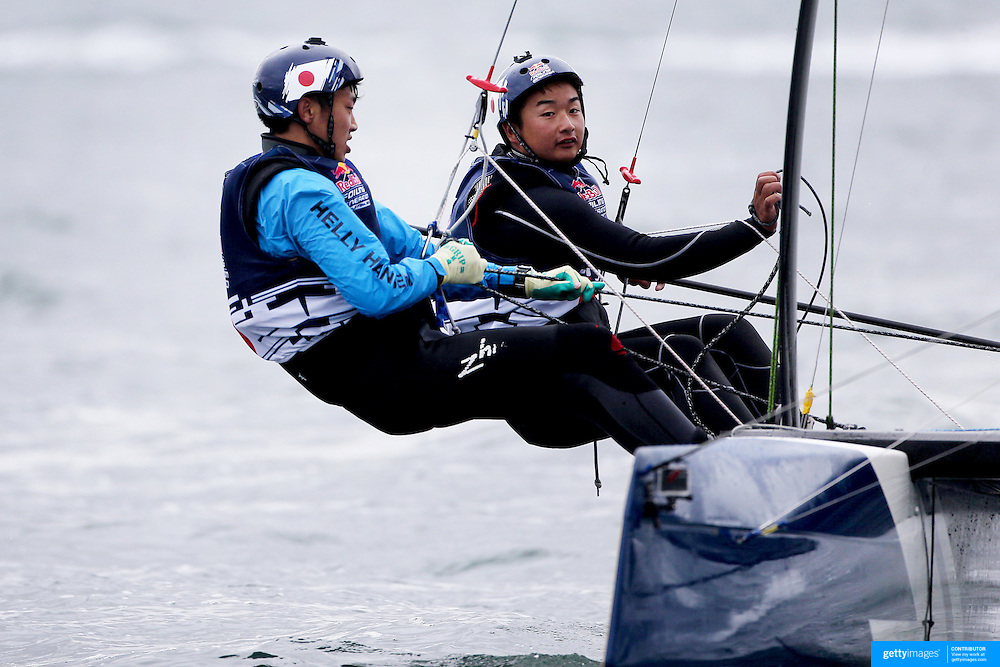 NEWPORT, RHODE ISLAND- OCTOBER 22:  The  Japanese team of Issei Fujiki and Shinichiro Yano in action during the Red Bull Foiling Generation World Final 2016 on October 22, 2016 in Narragansett Bay, Newport, Rhode Island. (Photo by Tim Clayton/Corbis via Getty Images)